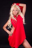 Sexy frau im roten kleid