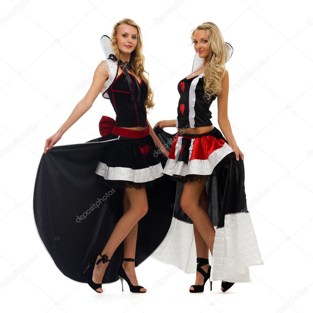 74a113c87b6a Dvě krásné ženy v karnevalové kostýmy. Domino tvar. izolované obrázek —  Fotografie od ...