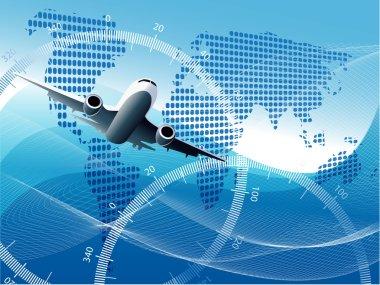 Illustration plane on blue globe on blue background stock vector