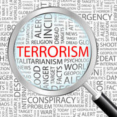 terorismus. zvětšovací sklo nad pozadím s různými asociace termíny