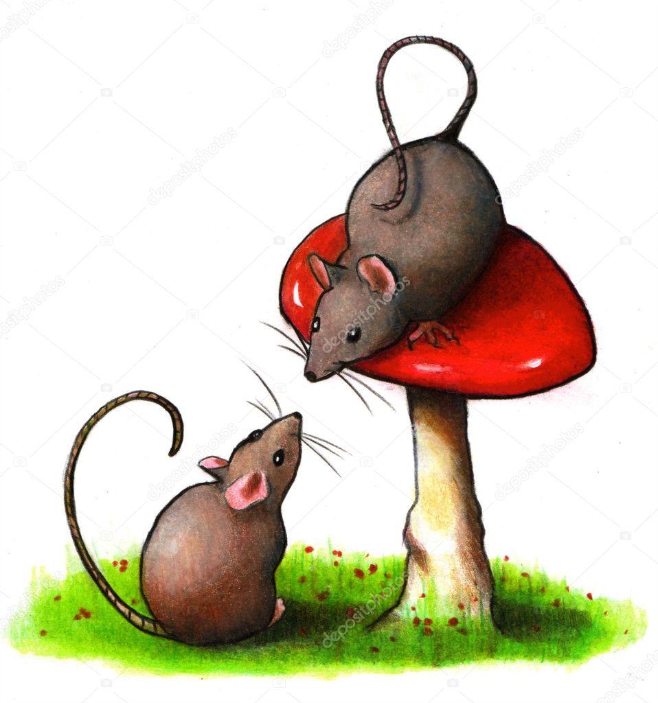 mice with toadstool color pencil art u2014 stock photo joyart 6961062