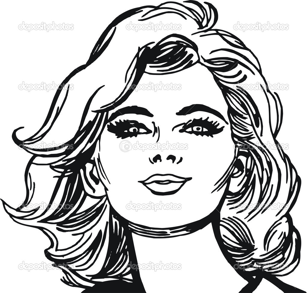 Line Drawing Female Face : Face of a beautiful woman — stock photo pakmor