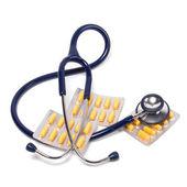 Stetoskop a tablety izolovaných na bílém pozadí