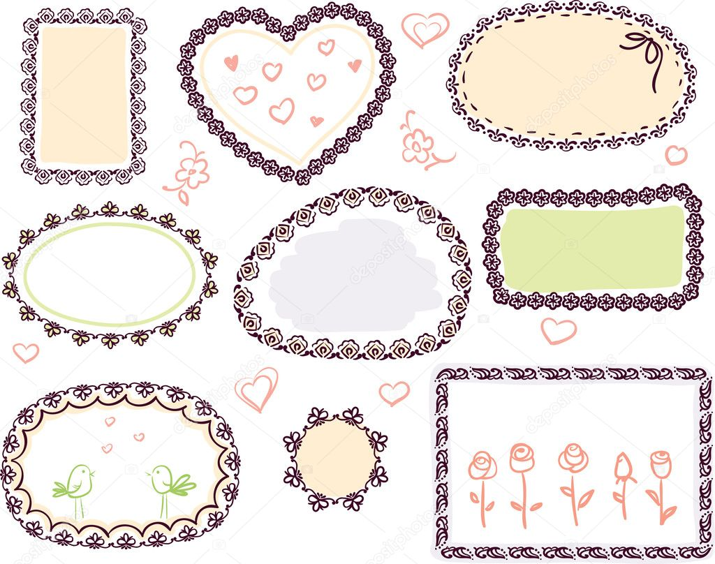 Cute doodle floral vector frame set — Stock Vector ...