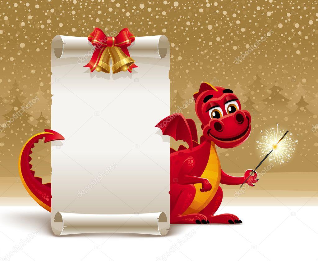 Roter Drache mit einer Wunderkerze und Papier Schriftrolle für ...
