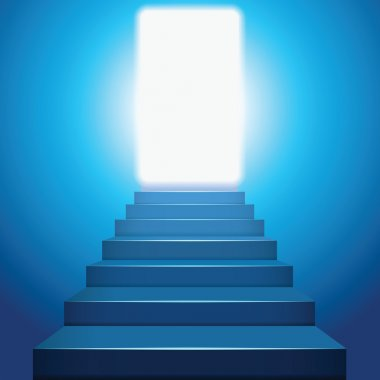 Stairway to heaven in the light. Stairway to success clip art vector