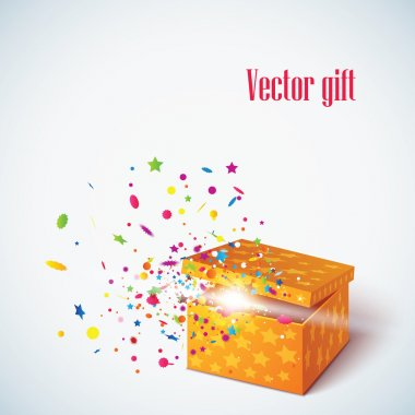 Vector editable illustration of magic gift box, open and luminous stock vector