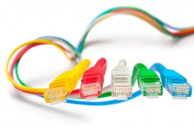 Five patch cords. Concept - main network connection.