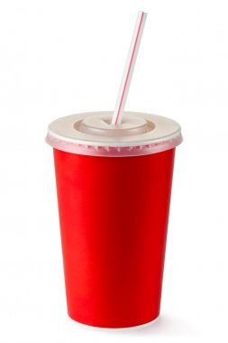 Red disposable cup for beverages with straw