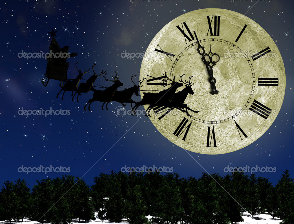 Santa Claus On Sledge With Deer against the bright moon with arr