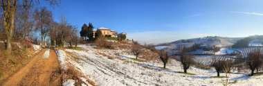 Panoramic view on snowy hills.