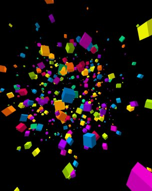 Fly colorful 3d cubes