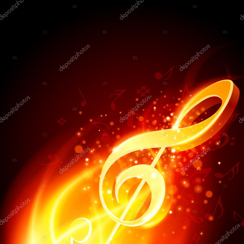 Music note burn in fire