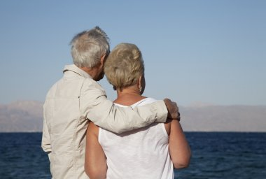 Senior couple watching the sea