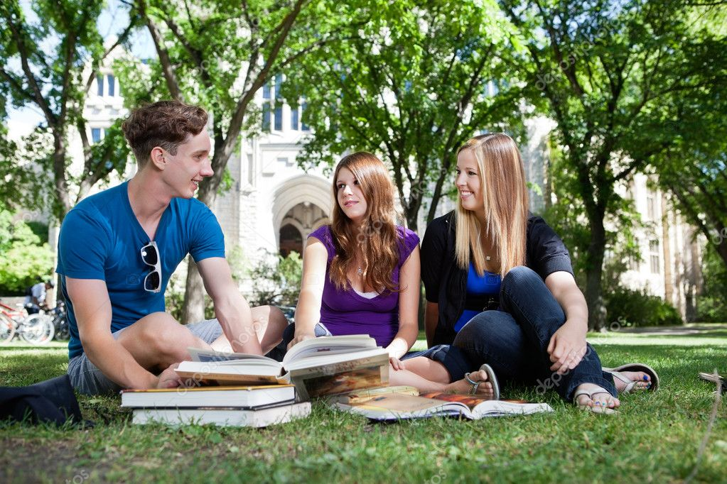 Students on campus ground