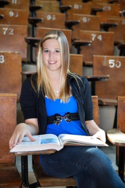 College Girl with Text Book