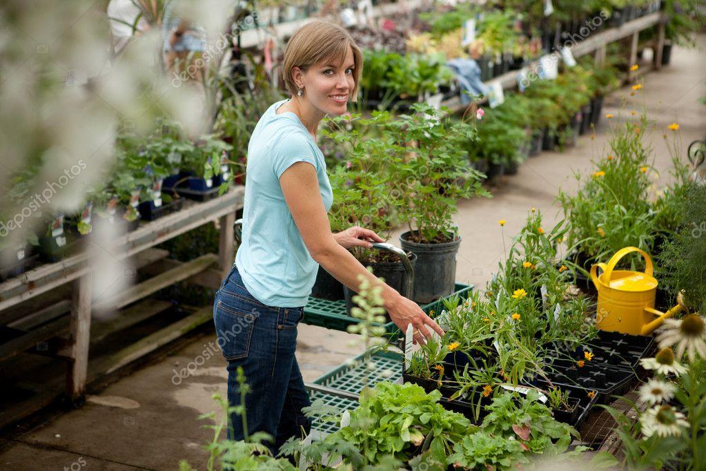 Attractive Woman in Garden Center