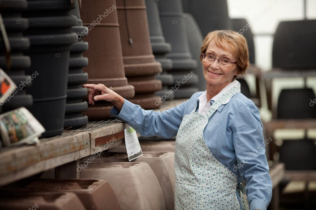 Senior Woman in Garden Center