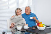 Fotografie Senior Couple Reading Newspaper