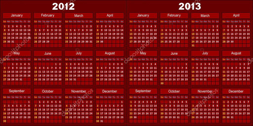 Calendar of dark red color.