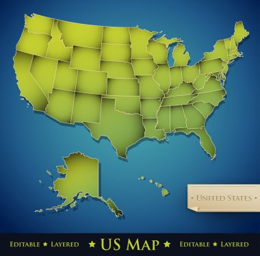 United States map with all 50 states separated