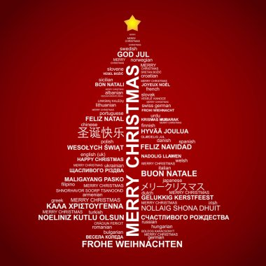 Christmas tree shape from letters - typographic composition - Merry Christm