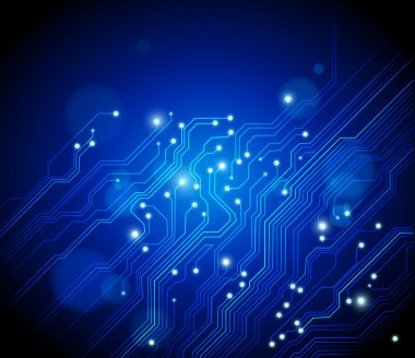 Abstract electronics blue background with circuit board texture - vector