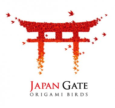 Japan origami gate Torii shaped from flying birds
