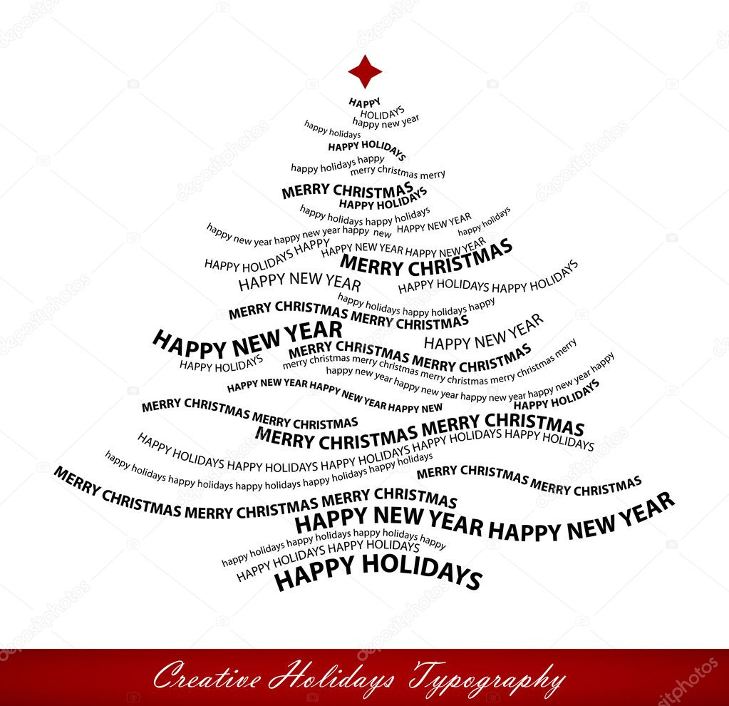 Christmas tree shape from words - typographic composition - vect