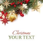 cchristmas pozadí s zlaté Vánoční dekorace na bílém pozadí