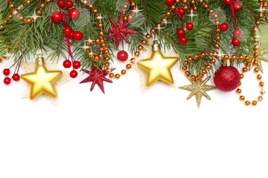 Christmas border - decoration isolated on white