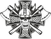 Keltský kříž a lebka