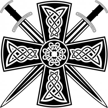 Celtic cross and swords