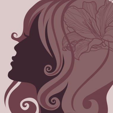 Vector girl with beautiful hair