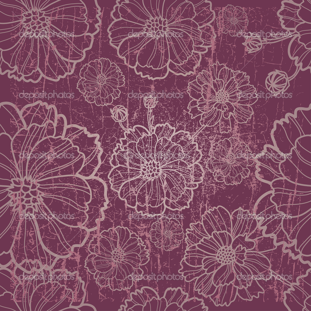 Vector seamless grunge floral pattern with herbarium