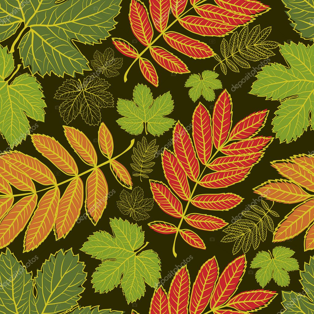 Seamless vector autumn leaves background. Thanksgiving