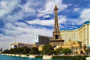 View on the replica of Eiffel Tower at Paris Hotel & Casino. Las