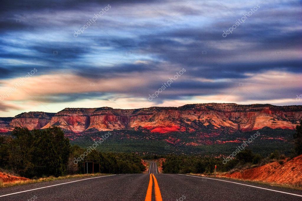 Landscapes of Utah state. USA. After sunset.