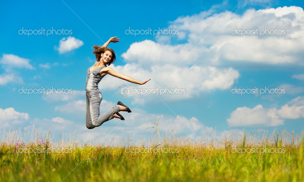 Young woman jumps