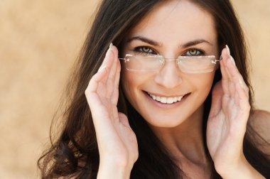 Portrait brunette glasses