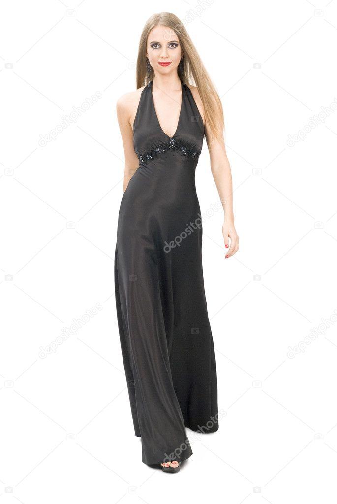 Maquillaje de noche vestido negro con blanco