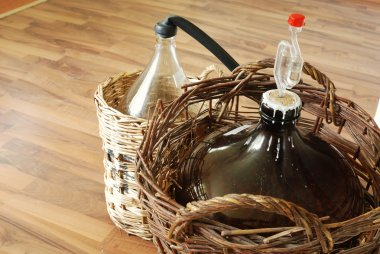 Bottles of homemade wine