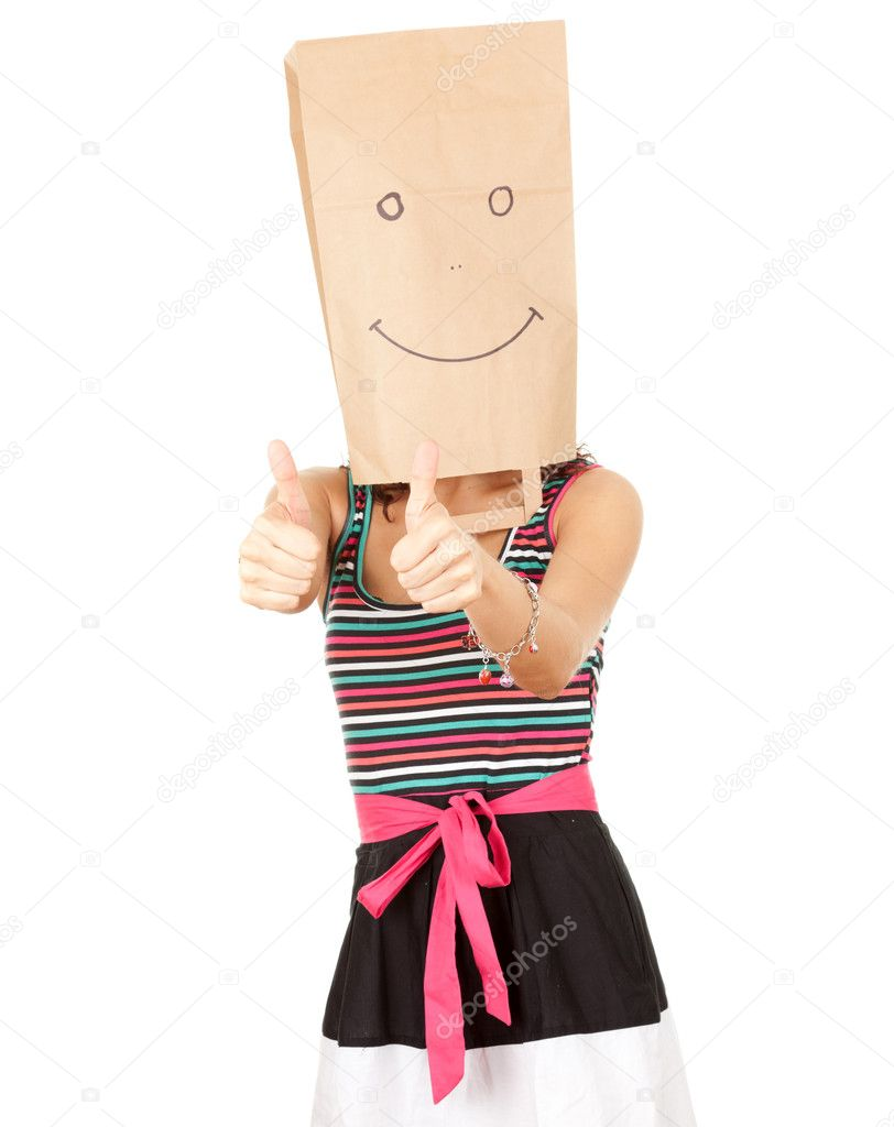 Woman in smiling paper head, series