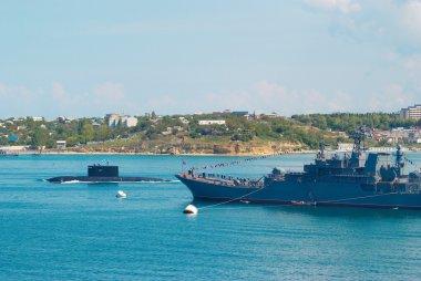 Russian warships and submarine.