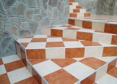 A abstract stairs with ceramic tiles.