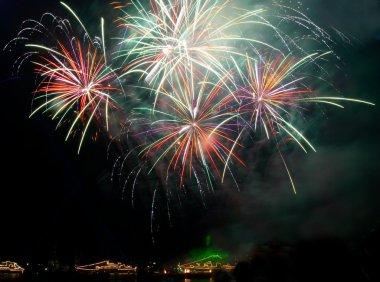 Salute, fireworks above the bay. Sevastopol, Ukraine.