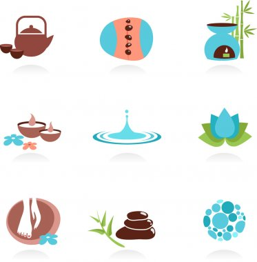 Collection of spa and Zen icons and elements, vector illustration clip art vector