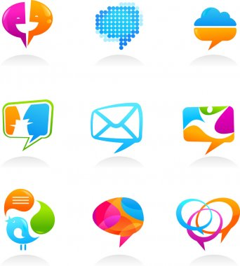 Collection of social media and speech bubbles icons