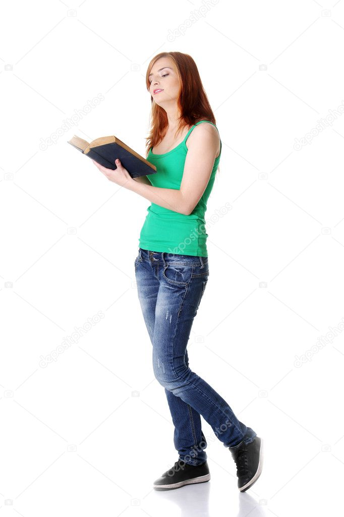 Standing Teen Girl Reading A Book  Stock Photo  Piotrmarcinski 7641367-9719
