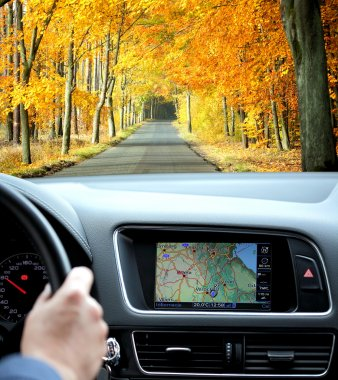 Travel by car with gps in autumnal scenery stock vector